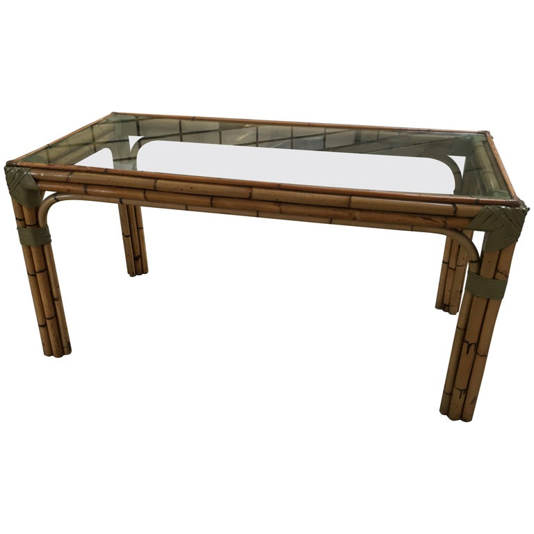 Mid-Century Modern Bamboo and Glass Italian Dining Table For Sale