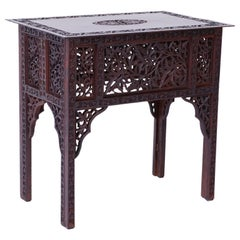 Anglo-Indian Carved Bombay Black Wood Side Table