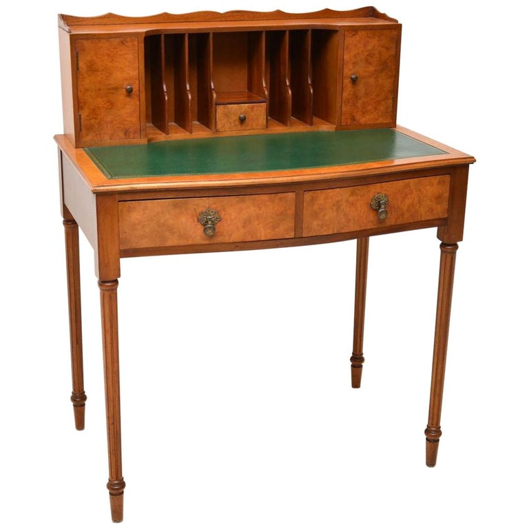 Antique Burr Walnut Bonheur De Jour Desk For