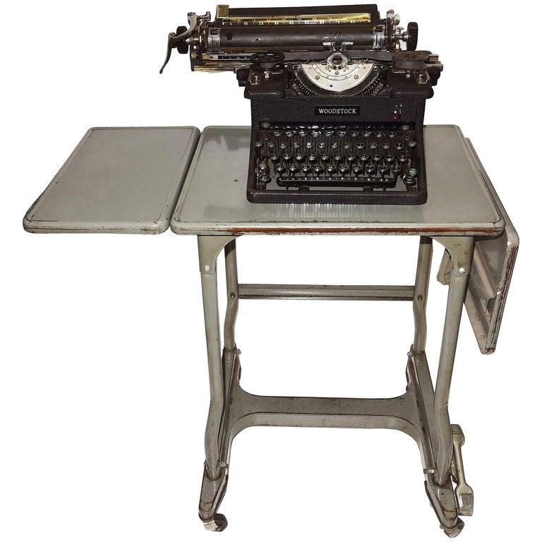 Typewriter & Vtg Steel Dual Drop-Leaf Rolling Typewriter Table