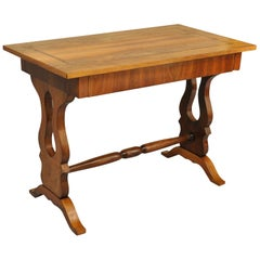 Antique Empire Regency Console Table or Desk, Flame Mahogany, Burl Inlaid