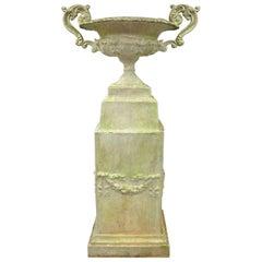 Large Garden Urn Water Fountain Fiberglass Classical Pedestal Faux Concrete