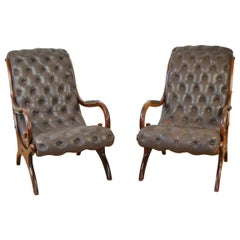 Pair of Vintage Brown Armchairs, Lounge Chairs Chesterfield Style