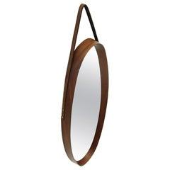 Italian Midcentury Oval Mirror with Teak Frame, 1950s
