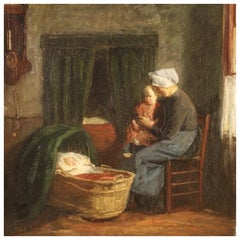 Dutch Painting Interior Scene with Children Oil on Canvas from 19th Century