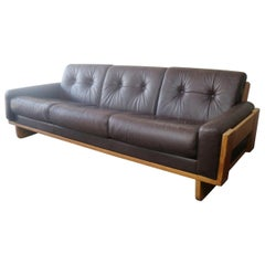 1970s Danish Midcentury Leather Sofa with Oak Frame