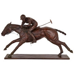 'Nearside Forehand', Large Bronze Sculpture of a Polo Player by Juliet Cursham
