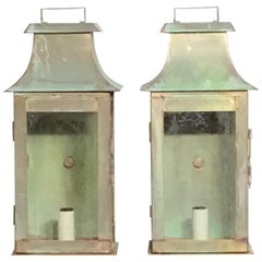 Pair of Wall Hanging Brass Lanterns