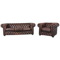 Chesterfield Leather Sofa Brown Three-Seat Armchair Set Vintage Retro