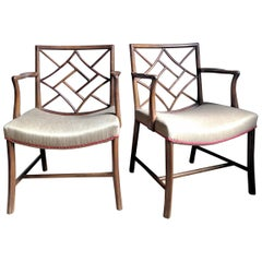 Pair of Chinese Chippendale Mahogany Lattice Back Armchairs