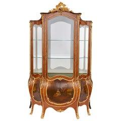 Rococo Style Gilt Bronze and Vernis Martin Vitrine Cabinet