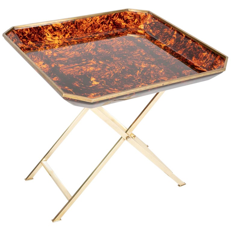 Brass and Faux Tortoise Tray Table in the Manner of Maison Jansen