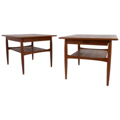 Sleek Pair of 1960s Danish Teak Single Drawer End or Lamp Tables or Nightstands