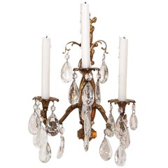 Gilt Bronze and Crystal Sconces, Pair