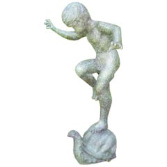 Boy Riding Snail Bronze Statue