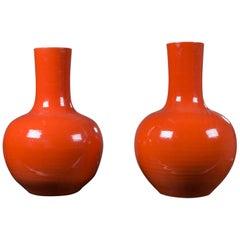 Pair of Modern Chinese Glazed Ceramic Orange Vases from China