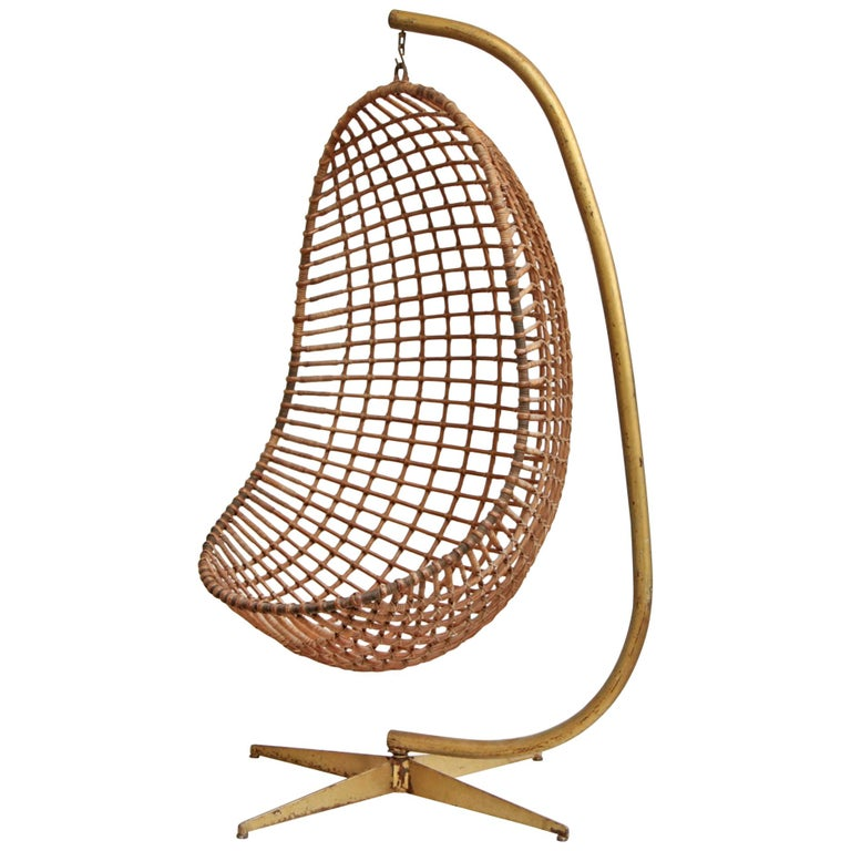 Rohé Noordwolde rattan Egg chair and stand, 1965, offered by Other Times Vintage