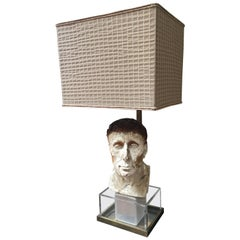 20th Century Italian Sculptural Face Table Lamp with Fabric Lampshade