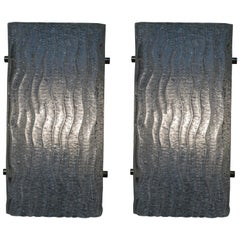 Pair of 1970s Textured Glass Wall Sconces by Arlus