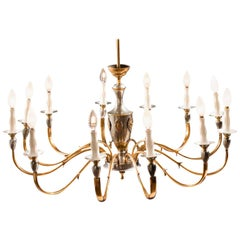 Italian Midcentury Brass and Chrome Chandelier, 1950s