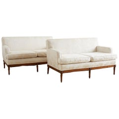 Pair of Upholstered Louis XVI Style French Settees