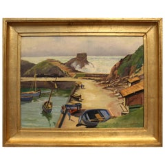 20th Century French Brittany Fishing Port Oil on Panel Painting Signed Berthier