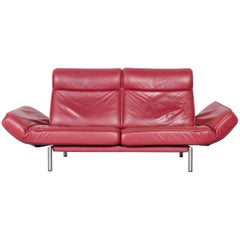 De Sede DS 450 Designer Sofa Red Leather Two-Seat Couch Made in Switzerland