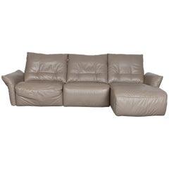 Ewald Schillig Designer Leather Corner-Sofa Grey with Function