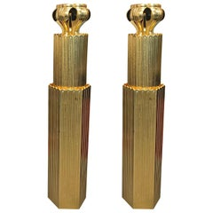 Gold Temple Columns Pair of Glistening Display Possibilities Old Japan