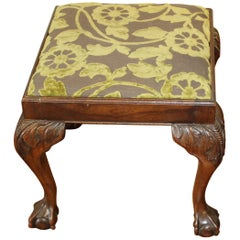 Antique English Hand-Carved Mahogany Chippendale Style Bench