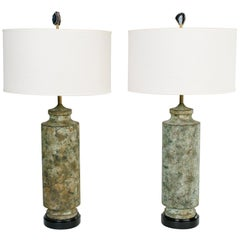 Pair of Mid-Century Modern Oxidized Metal Brutalist Lamps