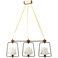 Stilnovo Three-Light Fixture with Glass Shades and Brass Fittings
