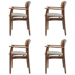 1960s Set of Four Erik Buch Model 50 Armchairs in Rosewood