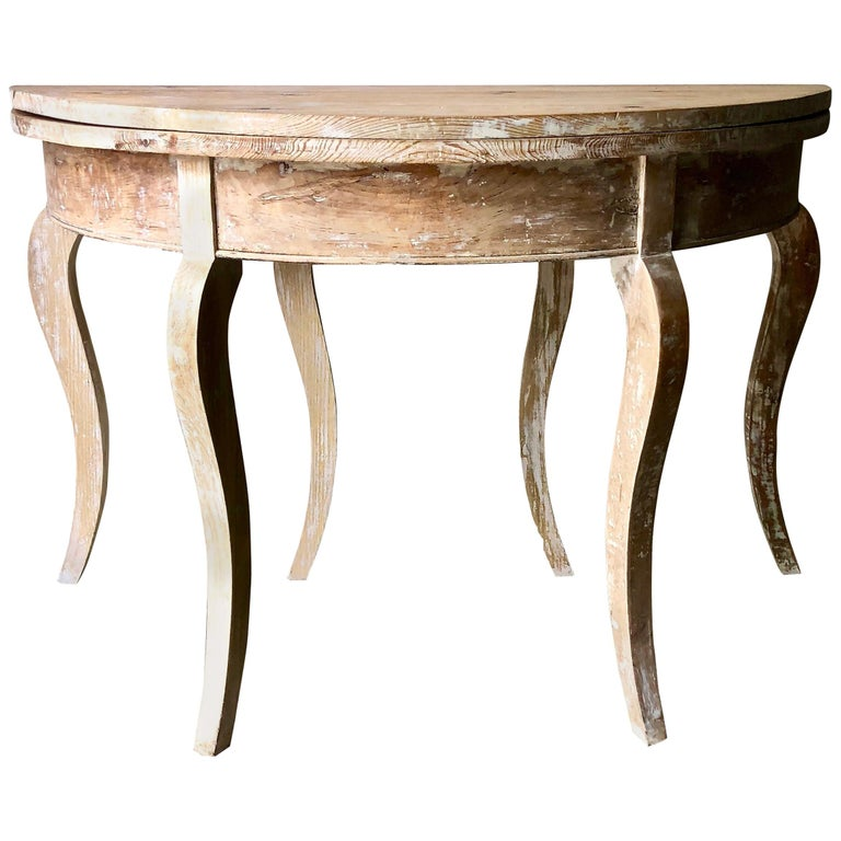 19th Century Swedish Folding Demilune Table
