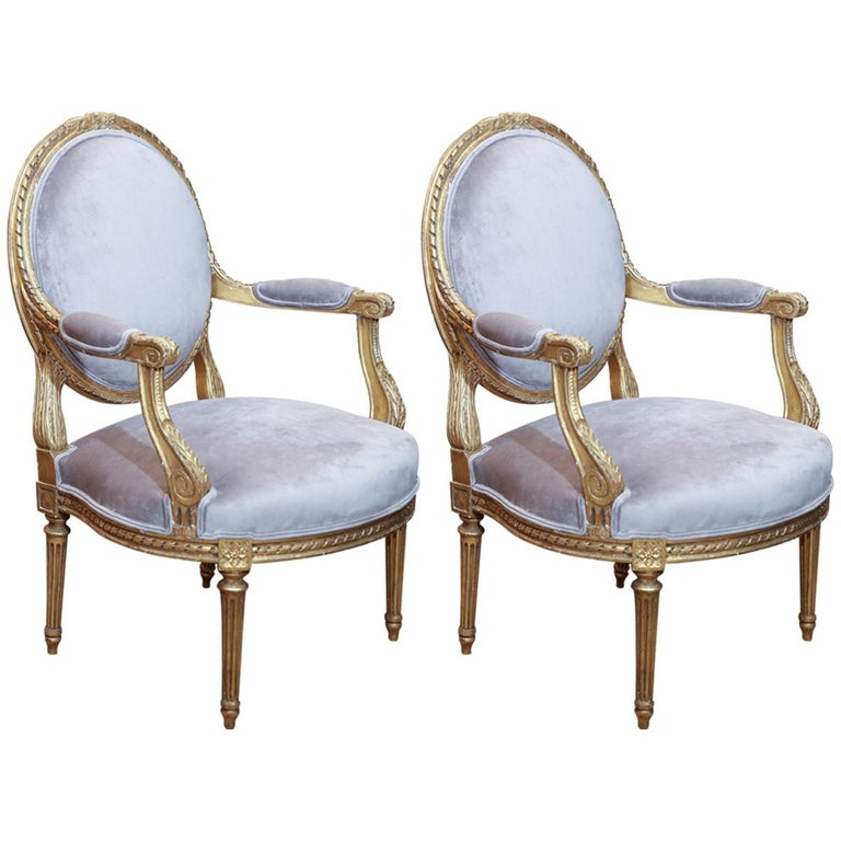 Pair of French Louis XVI Style Giltwood Fauteuils, Early 19th Century