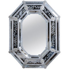 Venetian Hand Etched Mirror in Octagonal Shape with Glass Borders and Flowers