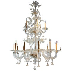 Monumental Venetian Glass Chandelier with 18 Lights on Two Tiers in Pale Gold