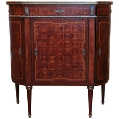 French Louis XVI Style Petite  Cabinet with White Marble Top