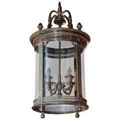 Large English Brass Circular Lantern Chandelier