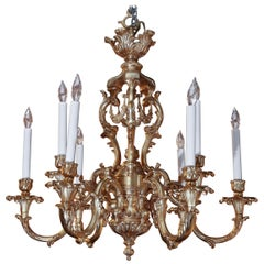 French Gilt Bronze Chandelier with Nine-Lights
