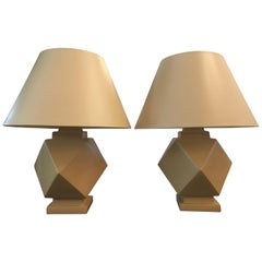 Unique Geometric Designed Sirmos Table Lamps, Pair