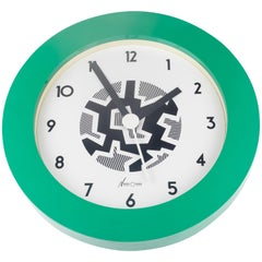 Memphis Wall Clock, Green, Black by George Sowden for Neos Lorenz, Italy, 1980s