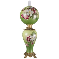 Antique Hand-Painted Lily Gone-with-the-wind Lamp, Electrified, 19th Century