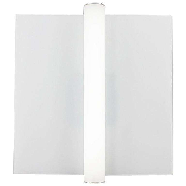 Long Cylinder White Glass Wall Sconce With Aluminium Wall Plate For
