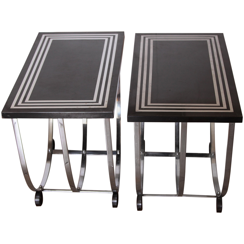 Attirant Machine Age Art Deco Pair McKay Inlaid Aluminum End Tables McKaycraft