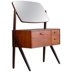 Danish Teak Y-Leg Vanity Table with Mirror by Sigfried Omann for Olholm Mobler