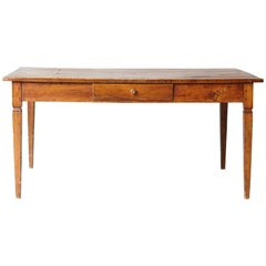 19th Century Italian Country Pine Farm Table with Drawer