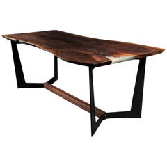 Franklin Dining Table by Ambrozia, Walnut Slab, Blackened Steel & Walnut Base