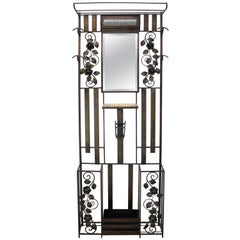 Art Deco Iron Hall Tree Mirror with Rose Motif