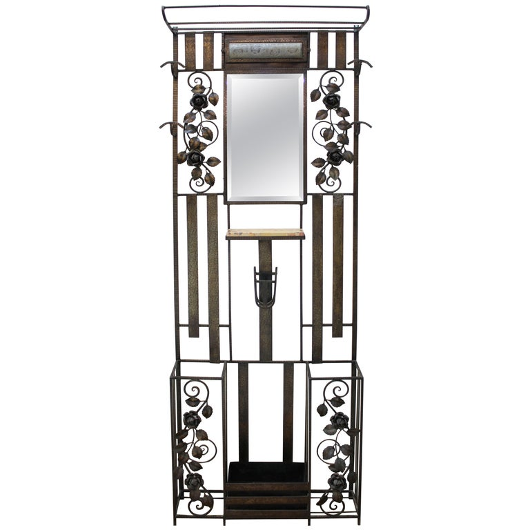 Art Deco Iron Hall Tree Mirror with Rose Motif